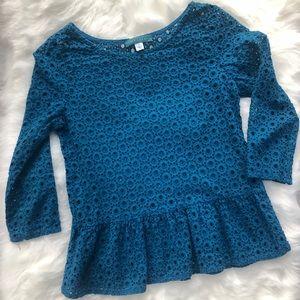 Pim + Larkin 3/4 sleeve peplum shirt top Sz small